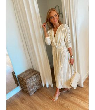 Cream Pleat Dress