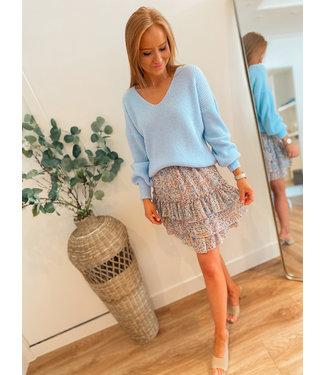 Floral Skirt - Blue/Pink