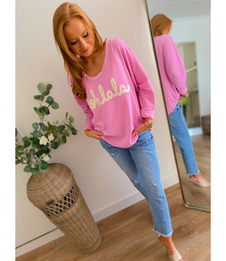 Sweater Shirt - Pink/White
