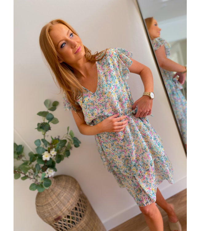 Short Sleeve Colorful Dress