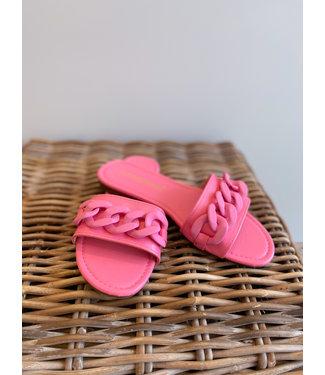 Chain Decor Flat Sandal - Pink