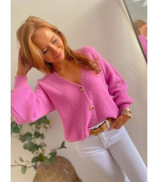 Button Cardigan -  Pink