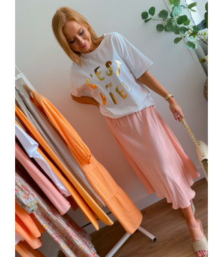 Silk Mid Skirt - Light Peach