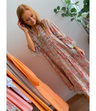 Long Floral Dress - Beige