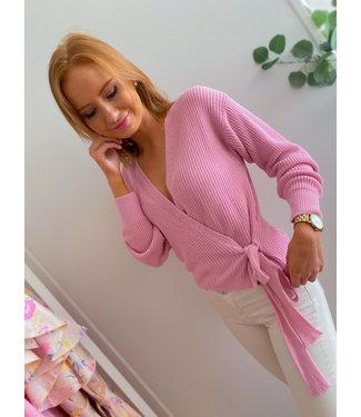 Knit Wrap Cardigan - Pink