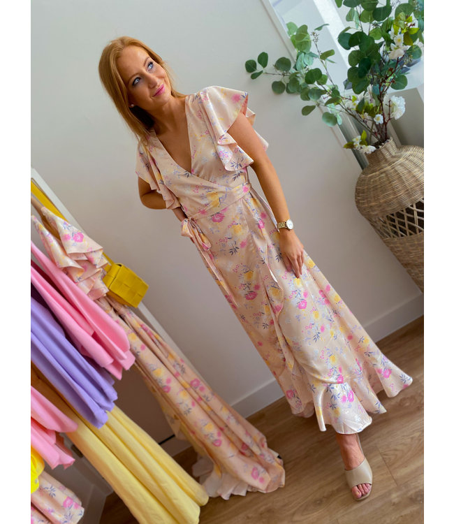 Creme Pastel Flower Maxi Dress