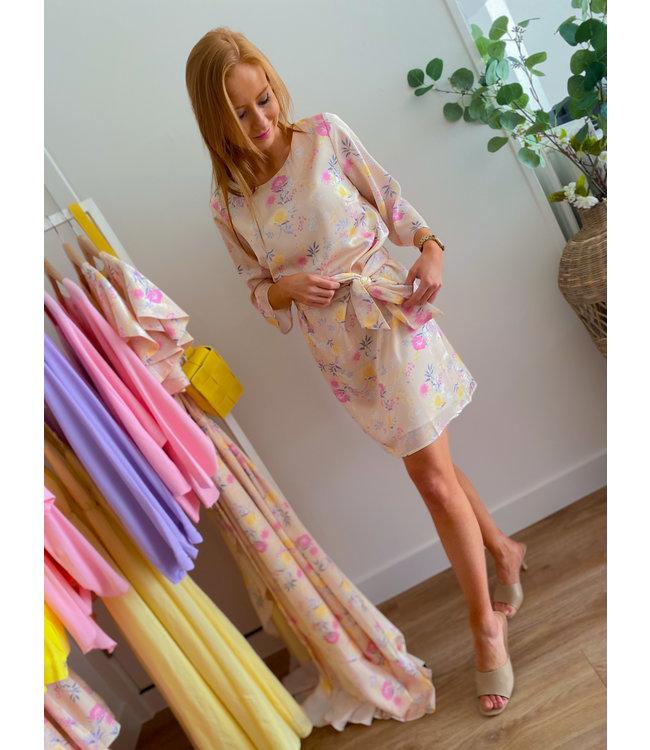 Creme Pastel Flower Dress