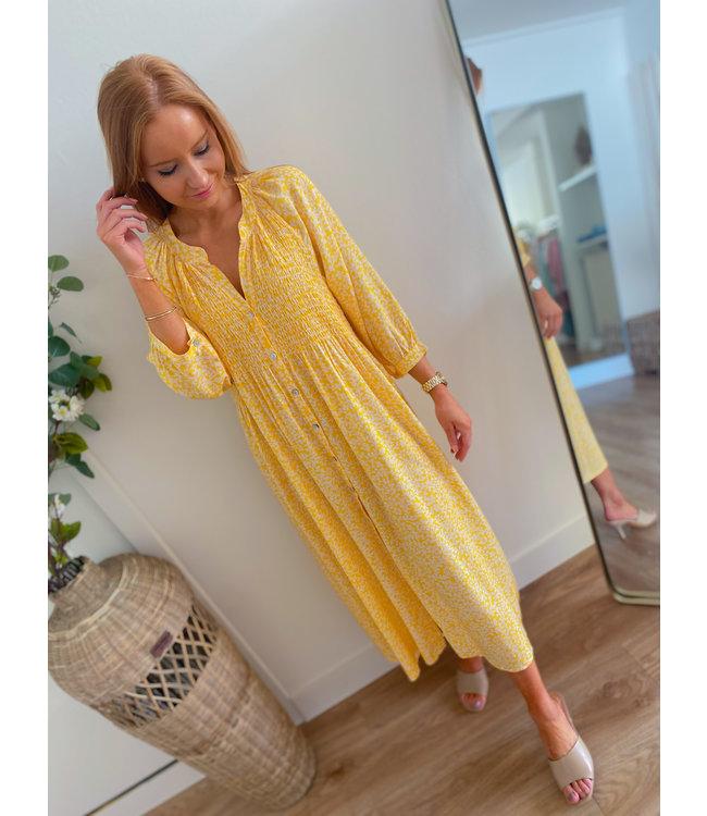 Printed Dress - Yellow/White