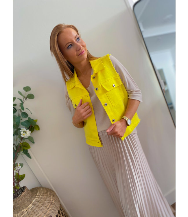 Sleeveless Denim Jacket - Yellow