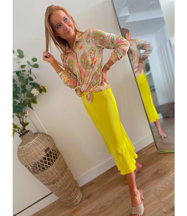Silk Mid Skirt - Yellow