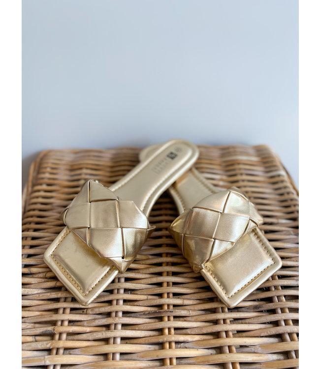 Braided Slide Sandals - Gold