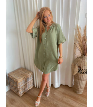 Short Tetra Shirt Dress - Khaki