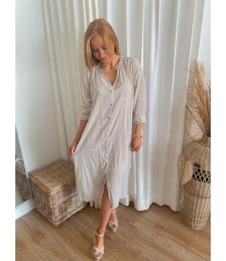 Long Shirt Dress - Beige