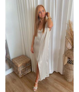 Long Satin Dress - Beige