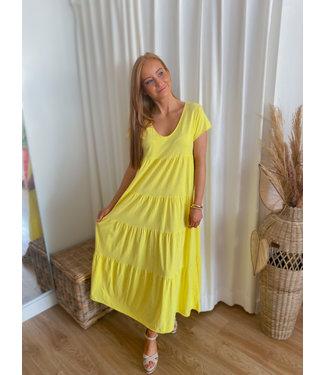 Short sleeve layer dress - Yellow