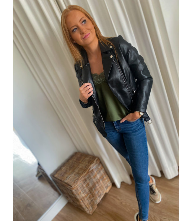 Leather Look Biker Jacket - Black