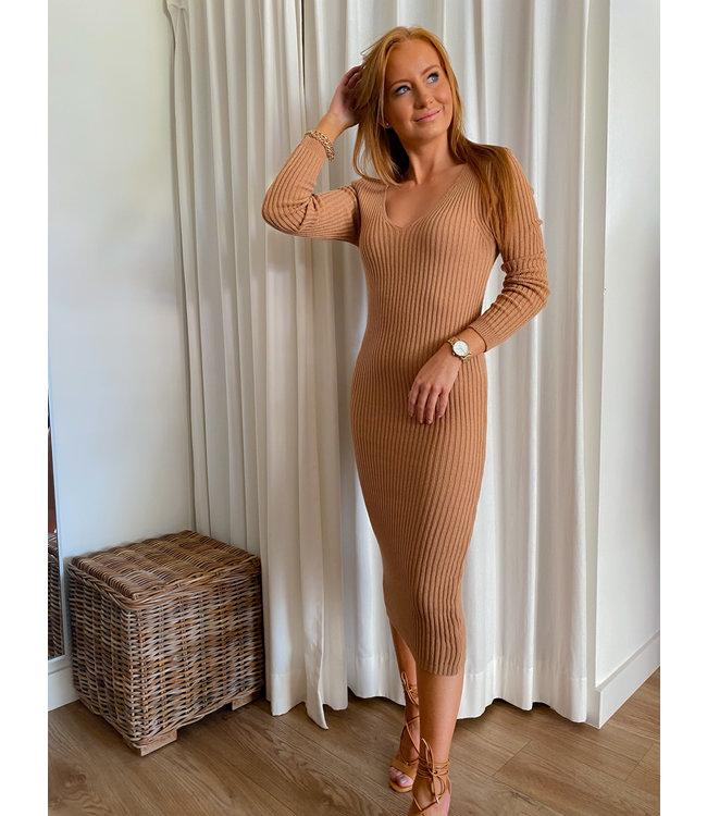 Knit Mid Dress - Camel