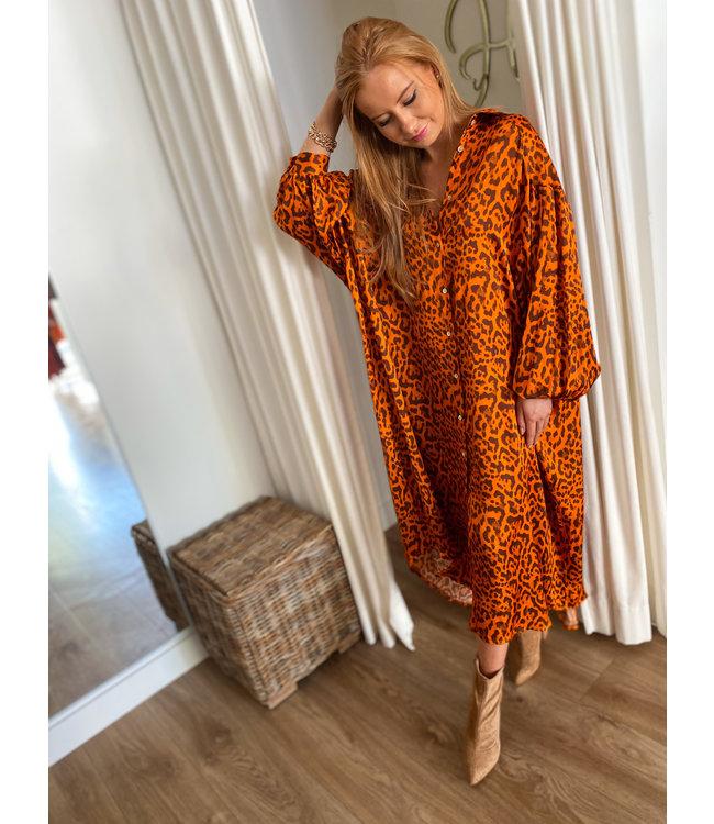 Leo Shirt Dress - Print Orange