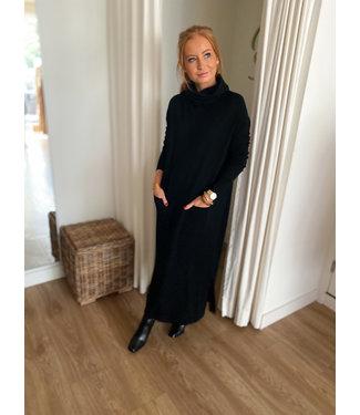 Turtleneck Split Dress - Black