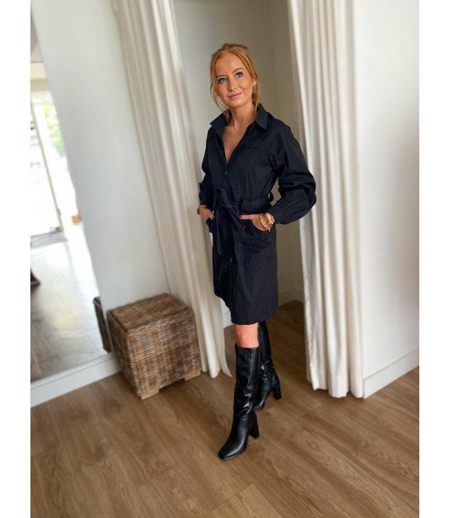 Trench Coat Dress - Black