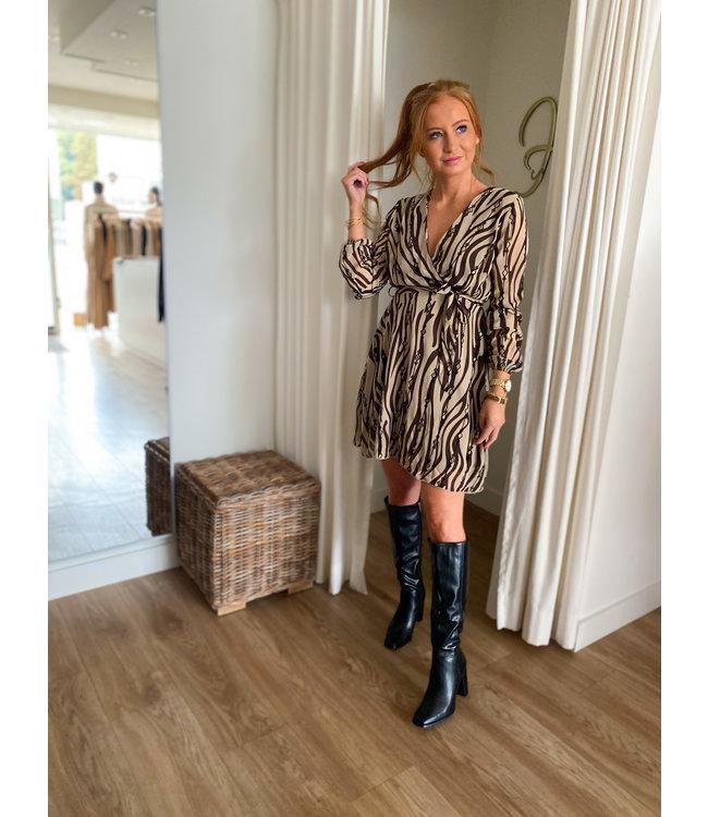 Short Zebra Print Dress - Brown