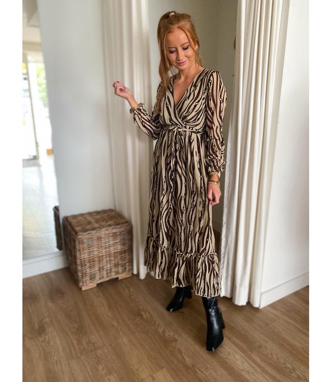 Long Zebra Print Dress - Brown