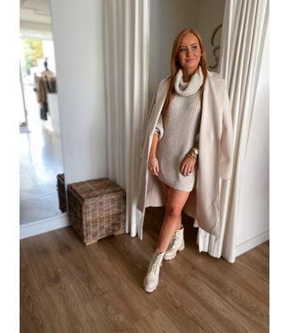 Turtleneck Knit Dress - Light Beige
