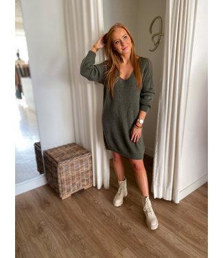 Knit V Pullover Dress - Khaki
