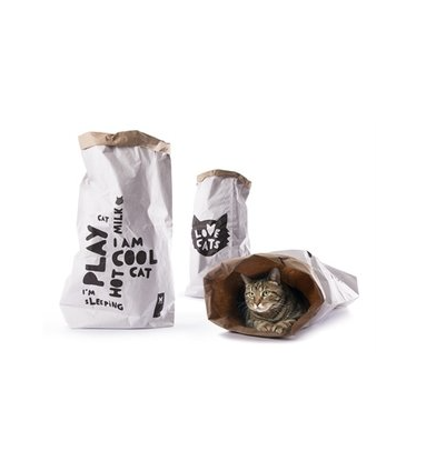 Krakende speelzak met tekst voor katten van Martin Sellier.