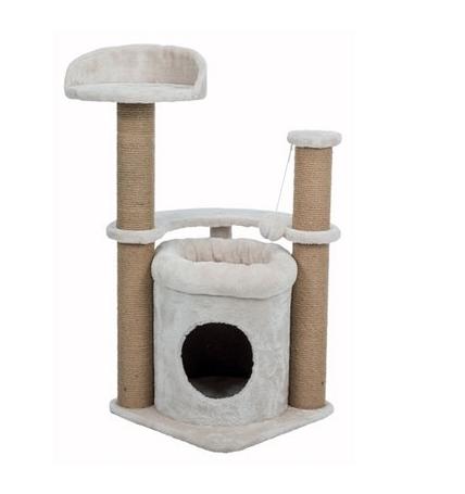 Krabmeubel voor katten met ligvlak, holletje en speelballetje.