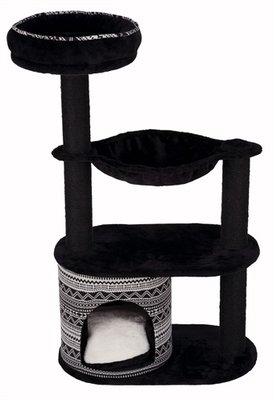 Zwarte stijlvolle krabpaal met ligvlakken en aztec patroon