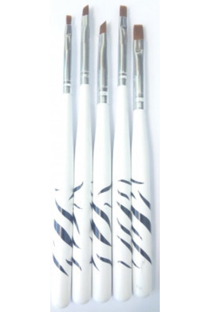 Nailart penselen | Set (5-delig) - Zebra