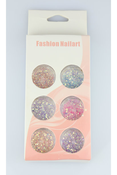 Nailart Glitter Set - 6 st.