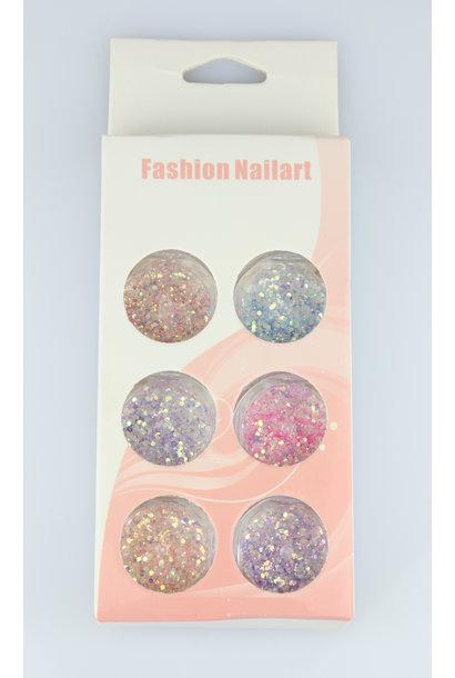 Nailart Glitter Set - 6 stk.