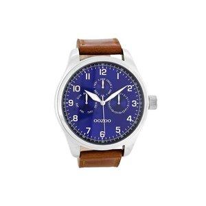 OOZOO horloge steel bruin/blauw C7848