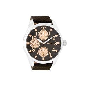 OOZOO horloge steel bruin/roze C7488