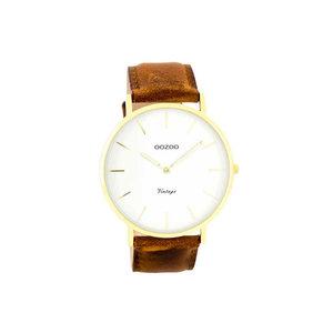 OOZOO horloge vintage bruin/wit C7754