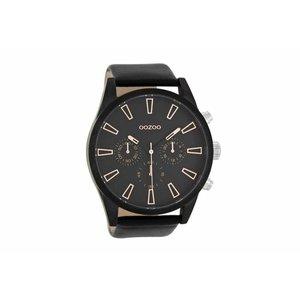 OOZOO horloge steel zwart/rosegold C8204
