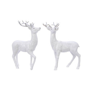 Rendier wit met glitter set van 2