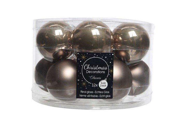 Kerstbal glas mat kasjmier bruin