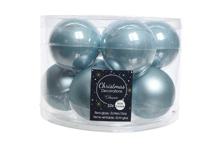 Kerstbal glas mistblauw