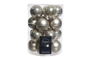 Kerstbal glas mat naturel linnen