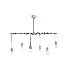 Industriele metalen hanglamp 6 lampen