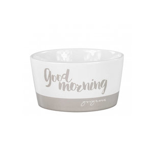 Bastion Collections Bowl white goodmorning in titane