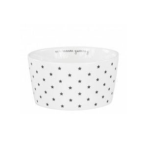 Bastion Collections bowl white little stars mmm yummy in black
