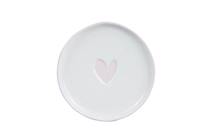 Bastion Collections Bastion Collections cake plate 16cm white heart in rose
