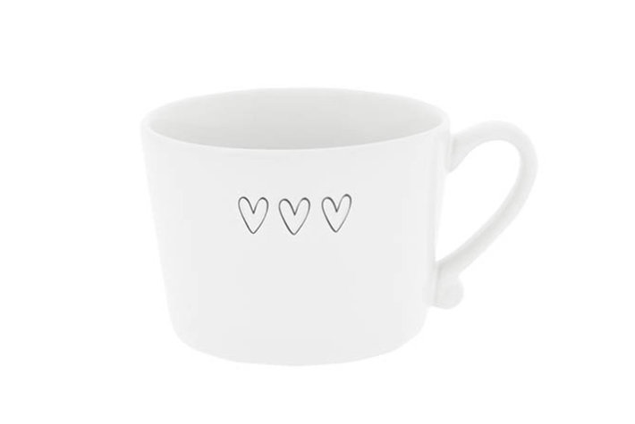 Bastion Collections Bastion Collections Cup White 3 Hearts In Black