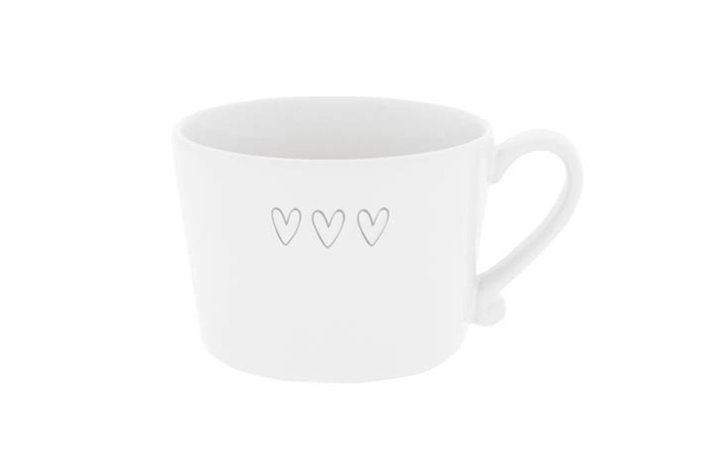 Bastion Collections Bastion Collections Cup White 3 Hearts In Grey