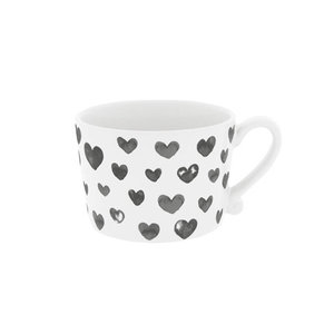 Cup White Hearts in Watercolor Black