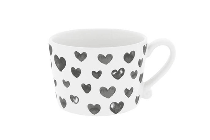 Bastion Collections Bastion Collections Cup White Hearts in Watercolor Black